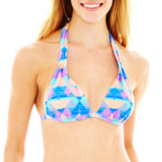 Arizona Tribal Print Pushup Halter Bra Swim Top - Juniors