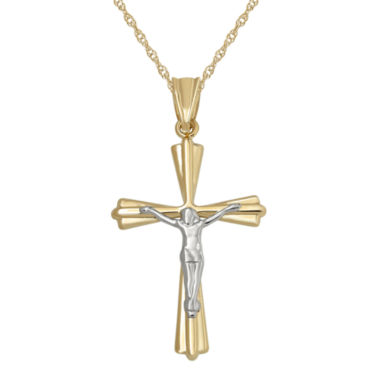 jcpenney.com | Infinite Gold™ 14K Two-Tone Gold Crucifix Cross Pendant Necklace