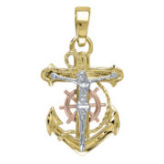 Infinite Gold™ Mens 14K Tri-Tone Gold Anchor Crucifix Pendant Necklace