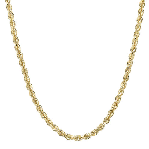 "Infinite Gold™ 14K Yellow Gold 22"" Glitter Hollow Rope Chain"