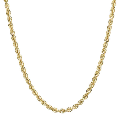 "Infinite Gold™ 14K Yellow Gold 30"" Glitter Hollow Rope Chain"