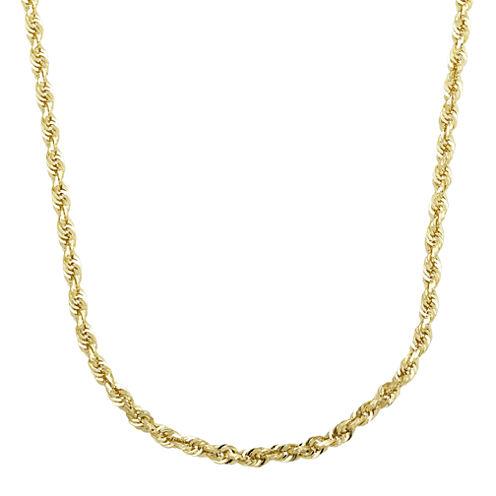 "Infinite Gold™ 14K Yellow Gold 20"" Glitter Hollow Rope Chain"