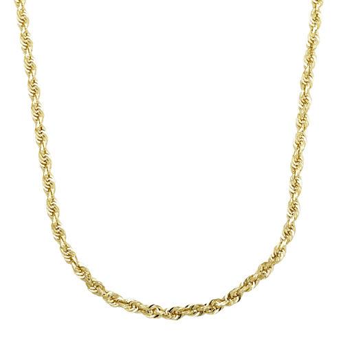 "Infinite Gold™ 14K Yellow Gold 24"" Glitter Hollow Rope Chain"