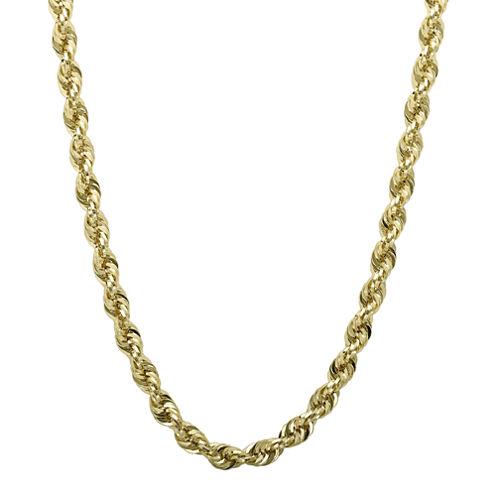 "Infinite Gold™ 14K Yellow Gold 18"" Glitter Hollow Rope Chain"