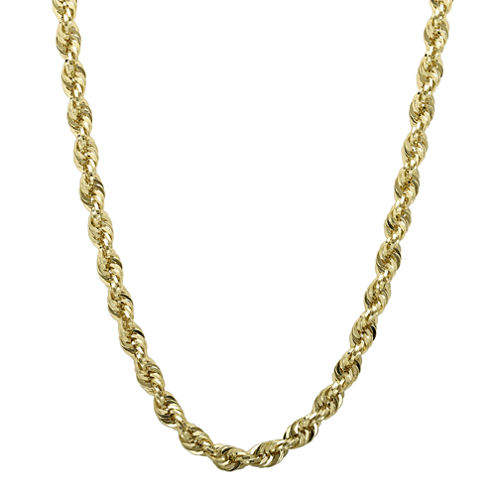 "Infinite Gold™ 14K Yellow Gold 24"" or 30"" Glitter Hollow Rope Chain"