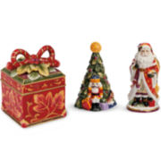Fitz and Floyd® Regal Holiday 3-pc. Sat and Pepper Shaker with Box Set