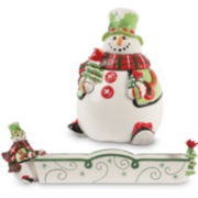 Fitz and Floyd® Holly Hat Snowman 2-pc. Snack Set