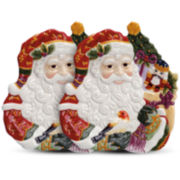Fitz and Floyd® Holiday Santa Set of 2 Canapé Plates