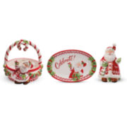 Fitz and Floyd® Candy Cane Santa 3-pc. Sentiment Set