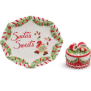 Fitz and Floyd® Candy Cane Santa 2-pc. Dessert Set