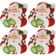 Fitz and Floyd® Candy Cane Santa Set of 4 Canapé Plates