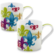 Konitz Fleur De Lis Set of 2 Mugs