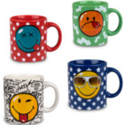 Konitz Assorted Smiley Face Set of 4 Mugs