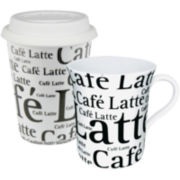 Konitz Café Latte Collage 2-pc. Stay/Go Mug Set