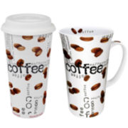 Konitz Coffee Collage 2-pc. Stay/Go Mega Mug Set