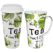 Konitz Tea Collage 2-pc. Stay/Go Mega Mug Set