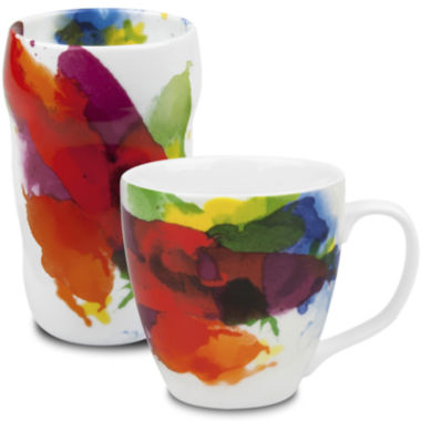 "jcpenney.com | Konitz ""On Color!"" 2-pc. Double-Walled Grip Mug and Mug Set"