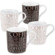 Konitz 100% Coffee Set of 4 Mugs - Black and White