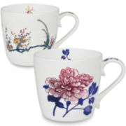 Konitz Peony and Bird Set of 2 Mugs