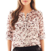 MNG by Mango® 3/4-Sleeve Roll-Tab Butterfly Print Blouse