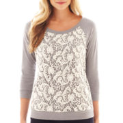 jcp™ 3/4-Sleeve Lace-Front Sweatshirt