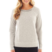 jcp™ Long-Sleeve Polka Dot French Terry Sweatshirt