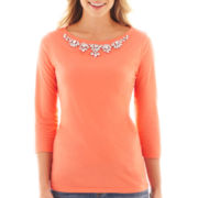 jcp™ 3/4-Sleeve Embellished Knit Top