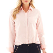 jcp™ Long-Sleeve Button-Front Oxford Shirt