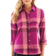 jcp™ Long-Sleeve Button-Front Relaxed-Fit Shirt