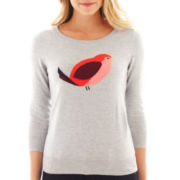 jcp™ ¾ Sleeve Bird Intarsia Sweater