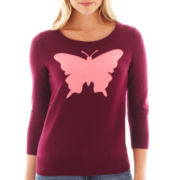 jcp™ 3/4-Sleeve Butterfly Intarsia Sweater