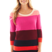 jcp™ 3/4 Sleeve Colorblock Sweater