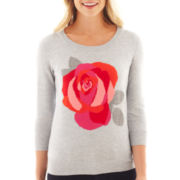 jcp™ 3/4-Sleeve Flower Intarsia Sweater