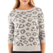 jcp™ 3/4-Sleeve Jacquard Pullover Sweater
