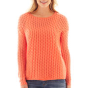 jcp™ Long-Sleeve Crewneck Cable Pullover Sweater