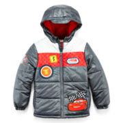 Disney Collection Cars Hooded Puffer Jacket – Boys 2-12