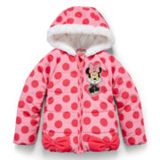 Disney Collection Pink Minnie Mouse Hooded Puffer Jacket – Girls 2-10