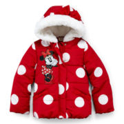 Disney Red Minnie Mouse Hooded Puffer Jacket – Girls 2-10