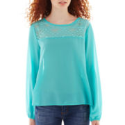 Lily Star Long-Sleeve Sheer Blouse