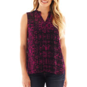 a.n.a® Sleeveless Henley Tunic