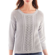 a.n.a® 3/4-Sleeve Openwork Cable Sweater