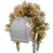 National Tree Co. 3' Glittery Bristle Pine Mailbox Swag with Battery-Operated Timed LED Lights