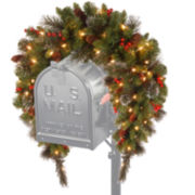 National Tree Company® 3' Crestwood Spruce Mailbox Cover with Battery-Operated LED Lights