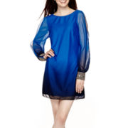 By & By Long-Sleeve Cold-Shoulder Ombré Shift Dress