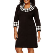 Studio 1® 3/4-Sleeve Cowlneck Sweater Dress - Plus