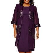 Maya Brooke 3/4-Sleeve Sequin Jacket Dress - Plus
