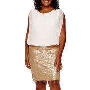 Scarlett Sleeveless Sequin Blouson Dress - Plus