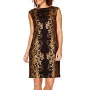 Studio 1® Sleeveless Foil Sheath Dress - Petite