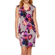 DR Collection Sleeveless Print Sheath Dress - Petite