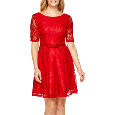jcpenney.com | Danny & Nicole® Elbow-Sleeve Lace Fit-and-Flare Dress - Petite